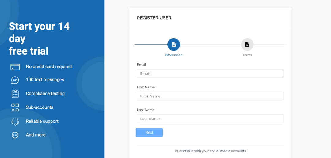 Signing up for an SMS Gateway
